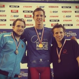 Jérémy Desplanches médaillé d'or en 200m 4 nages lors de la deuxième étape du Golden Tour 2015