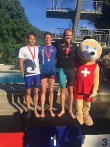 Nils Liess, nageur de Team Genève, lors de sa victoire aux 5km en eaux libre des Championnats suisse.