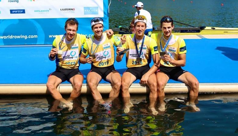 Lucas Tramèr, rameur de Team Genève, après la dernière étape de Coupe du monde d'aviron. Le quatre sans barreur poids léger a décroché la médaille d'or!