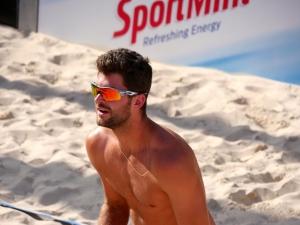Sébastien Chevallier, le beach volleyeur de Team Genève, lors du tournoi Coop Beach tour à Genève.